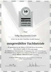 Urkunde als ausgewählter Fachbetrieb zur Herstellung des Sikkens LONGLIFE-Fenster