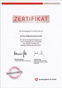 Zertifikat für das hervorragende Engagement in der Ausbildung