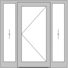 1-flügelige Hauseingangstür mit 2 festen Seitenteilen