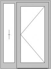 1-flügelige Hauseingangs- tür mit festem Seitenteil