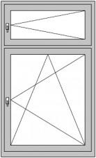 1-flügeliges Dreh/Kipp- Fenster mit Dreh-Oberlicht