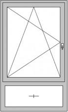 1-flügeliges Dreh/Kipp-Fenster mit feststehenden Unterlicht