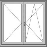 2-flügeliges Dreh-Dreh/Kipp -Fenster mit Stlip, ohne festen Pfosten