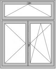 2-flügeliges Dreh - Dreh/Kipp- Stlipfenster mit Kipp-Oberlicht (Griff oder Oberlichtöffner)