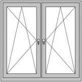 2-flügeliges Dreh/Kipp- Dreh/Kipp-Fenster mit Pfosten