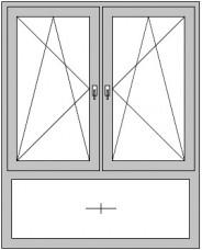 2-flügeliges Dreh/Kipp- Dreh/Kipp-Fenster mit Pfosten und festem Unterlicht