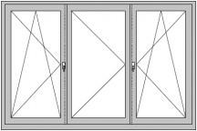 """3-flügeliges Dreh- Dreh/Kipp - Dreh-Fenster ohne Pfosten (""""Schweizer Fenster"""")"""