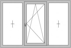 3-flügeliges Dreh/Kipp-Fenster mit 2 festverglasten Seitenteilen