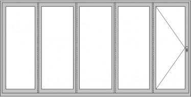 5-teiliges Falt-Schiebeelement mit Dreh/Kipp-Fenstertür (FST)