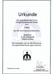 1.Preis beim Architekturwettbewerb (Gewinner in der Kategorie Objektneubau